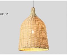 Nordic minimalista restaurante luces luces led bambú rattan tejido lámpara de bambú lámpara de araña lámpara japonesa ( Tamaño : S-28CM )