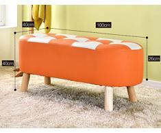 LI JING SHOP - Cambie el taburete del sofá del taburete del zapato del cuero sólido, banco de la tienda de ropa dedicado, taburete del resto del vestidor, color: verde / anaranjado / negro Tamaño: los 100 * 40 * 40CM ( Color : Negro )