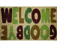 "STC - Felpudo (45 x 75 cm, antideslizante, fibra de coco, tejido a mano), diseño con texto ""Welcome Goodbye"""
