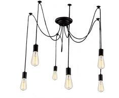 Asvert Lámpara del Techo Araña Colgante Luz Candelabro Iluminación Lámpara Vintage Colgante Clásica Ajustable DIY, Araña para Bombilla E27 Negro (Cabeza de 6 lámparas)