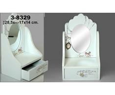 DonRegaloWeb - Espejo de sobremesa - tocador con cajon de madera decorada con motivos de amor