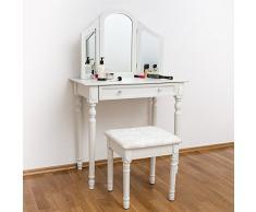 TecTake Tocador con taburete y espejo mesa de maquillaje belleza blanco