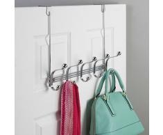 InterDesign York Lyra Perchero para puerta, colgador de pared de metal con 5 ganchos para colgar abrigos, sombreros, albornoces y toallas, plateado