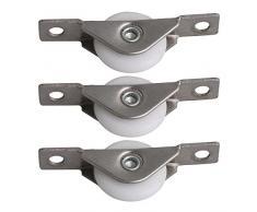 BQLZR - Juego de 10 ruedas para armario, ventana, estantería, 25 mm de diámetro, color plateado y blanco, de acero inoxidable