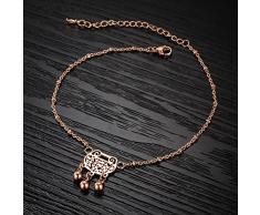 OPK para pulsera joyas de oro rosa y cristales LEG AVENUE pantalones de deporte para mujer cadena pie tres campanas de la lámpara de techo, longitud ajustable