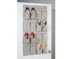 InterDesign Axis Organizador de zapatos con zigzag para puertas, zapatero colgante de polipropileno para 8 pares de calzado, gris topo y crudo