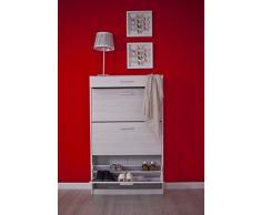 Intradisa 3AB - Zapatero, 3 puertas abatibles y un cajón 28 x 80 x 130 cm, blanco roto, patrón de madera