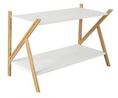 Zapatero de bambú con 2 estantes para pasillos, estante de madera para zapatos ideal de 2 niveles en color marrón/blanco de 33 x 70 x 45