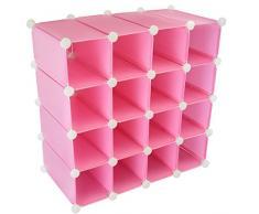 Organizador de zapatos modular con capacidad para 16 pares, estante de almacenamiento con paneles de plástico y marco de acero reforzado, cubo expositor fijo, casillero con marco rígido
