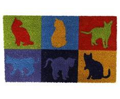 Felpudo de fibra de coco gatos de colores