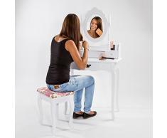 TecTake Tocador con espejo incluye taburete con silla mesa de maquillaje