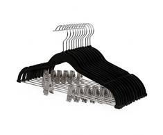 aterciopeladas con Pinzas Faldas Gris CRF12V-30 Gancho Giratorio a 360/º para Adultos Ideal para Trajes Abrigos Pantalones 42,5 x 0,5 x 23,5 cm SONGMICS Set de 30 Perchas para Pantalones