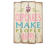 Perchero Recibidor Cupcakes con ganchos Madera 60 x 40 cm Estilo Shabby Vintage Alquería