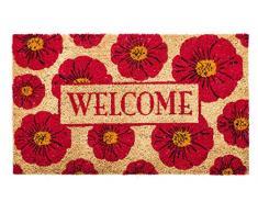 Evergreen flores Welcome alfombrilla de fibra de coco, 28 x 16 pulgadas