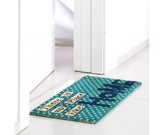 dcasa - Felpudo pop azul de fibra de coco para la entrada Arco Iris 70x35 cm HOME AZUL
