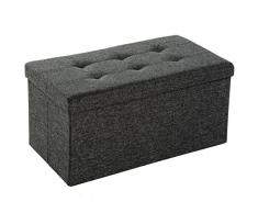 TecTake Taburete plegable banco caja de almacenaje asiento cúbico 76x38x38cm - disponible en diferentes colores - (gris oscuro | No. 402235)