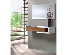 Due-home Habitdesign - Recibidor con cajón + espejo, medidas 19 x 95 x 26 cm de fondo (Blanco Brillo y Nogal)