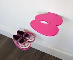j-me 5060105291166 - Estante para zapatos (1 unidad, plástico), diseño de huellas, color rosa