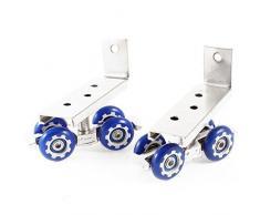 Sourcingmap – 2 pcs azul 4 ruedas Armario Armario de metal rodillos puerta corredera