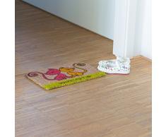 Relaxdays Kids Mini Felpudo fibra de coco con gato tema de bienvenida Felpudo antideslizante ladrón parte inferior 1,5 x 40 x 25 cm, diseño de gatos