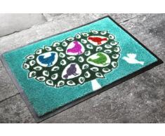 Beyond the Fridge 75 x 50 cm Felpudo de goma de nitrilo con muy absorbente Tufts pájaros en el árbol de Navidad de colores