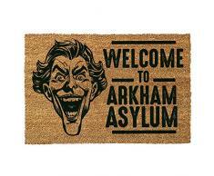 DC Comics - Felpudo para puerta del Joker (Batman) con lema «Welcome To Arkham Asylum», poliuretano, color marrón