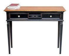 Consola bicolor de recibidor, mesa consola bicolor, consola de madera, mueble clásico de madera con 2 cajones, mesa consola por pasillo, mesa de entrada en madera, estilo clásico
