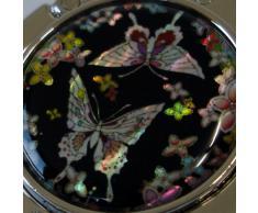 Gancho Cuelga Bolsos Plegable de Mano Negro con Diseño en Madreperla de Flores y Mariposas con Caja de Regalo