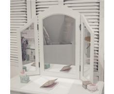 Vestidor tocador mesa YORK, blancas, 3 niveles, 2 bisagras espejo, moderno