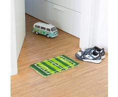 Relaxdays - Felpudo en miniatura para niños, 1.5 x 40 x 25 cm, Fibra de coco y PVC, antideslizante, Motivo: Campo de futbol