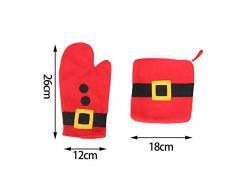 saint-acior 3pcs Navidad rojo mesa de horno guantes de cocina guante aislante cuenco taza alfombrilla para ratón