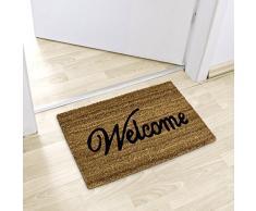Relaxdays - 10013938 Felpudo diseño de Welcome de fibra de coco marrón 60,0 x 40,0 x 1,5 cm)