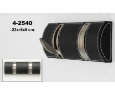 DonRegaloWeb - Perchero de pared de 2 ganchos plegables de polipiel en color negro con ganchos de metal