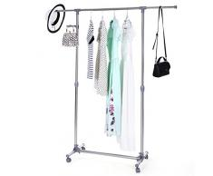 Songmics LLR01G - Perchero Barra para colgar ropa con ruedas y Ganchos Percha incluidos (altura ajustable entre 97 y 165 cm) gris