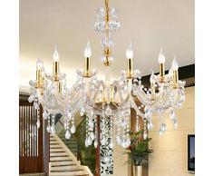 Araña De Cristal Lámpara De Techo De Cristal De Vela Europea Sala De Estar Lámpara con 5 Luces