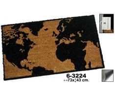 DonRegaloWeb - Felpudo de fibra de coco decorado con imagen del mapamundi en color negro y marron.