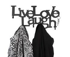 NOVA Perchero con 6 Ganchos de Pared de Metal Perchero Entrada 48 x 23 x 3 cm Live, Love, Laugh - Perchero de Pared, Perchero para Ropa, Panel Colgante