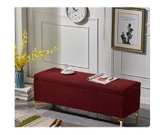 POETRY Otomanas Banco de Almacenamiento Europeo Banco de sofá de Extremo de Cama Rectangular Doble Tienda de Ropa Resto Taburete Cambio de Banco de Zapatos Transpirable (Color: Rojo Vino Tamaño: