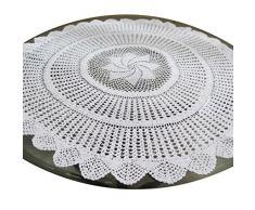 Trabajo hecho a mano de la cinta de punto de ganchillo del cordón del bordado de la flor de algodón tapete Tabla Coma Mat 35 Pulgadas