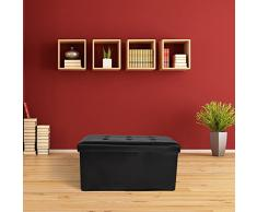 TecTake Asiento plegable Arcón Asiento Puf Ordenación Caja de almacenaje - disponible en diferentes colores - (Negro | No. 400867)