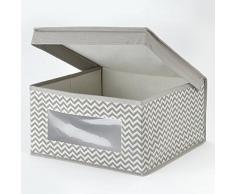 mDesign Caja organizadora de tela mediana con diseño de zigzag – Caja de tela con tapa para el armario del cuarto del bebé – Organizador de accesorios de bebé, ropa, sábanas, etc. – gris topo/crema