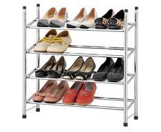 EHC – organizador, soporte, estante de zapatos, de cuatro baldas, extensible, cromado, multicolor