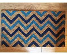 Heavy Duty 100% Fibra de coco Felpudo antideslizante alfombra/Felpudo (40 x 70 cm) – Multicolor Chevron
