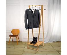 Relaxdays 10019033 - Perchero con Zapatero, 158,5 x 51 x 40,5 cm, bambú