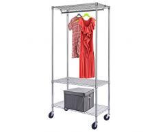 HLC® Armario movible Perchero para colgar ropa con ruedas y barras(195 * 91 * 45 CM resistente al polvo)altura ajustable con 3 estantes,cromado