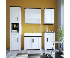 Muebles To Go Provence estrecho armario 1 puerta 1 cajón, madera, Whitewash acabado de alerce/oscuro Chocolate