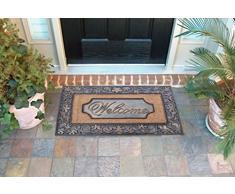 EHC - Felpudo (caucho y fibra de coco, 58 x 96 cm, tamaño XL), diseño con hojas y mensaje Welcome, color bronce