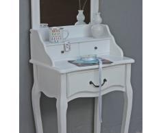Elbmöbel - Tocador con espejo (madera), estilo antiguo, color blanco