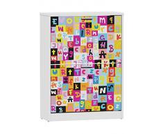 Suarez H329 - Zapatero, 2 niveles, diseño Alphabet, 820 x 600 x 242 mm, color blanco