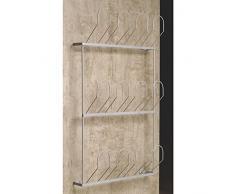 gedotec® estante para zapatos Zapatero para tornillos en la pared, Acero Plata RAL 9006, soporte para zapatero para 6pares de zapatos, Ancho: 410mm, marca de calidad para tu salón
